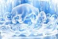 Картинка Медведи, снег, рисунок, белый, синий