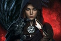 Картинка кровь, девушка, капюшон, Dragon Age: Inquisition, ворон, кинжал, Leliana