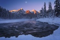 Картинка река, ночь, природа, горы, снег, зима, луна