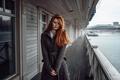 Картинка Россия, Тоня, девушка, пальто, Георгий Чернядьев, рыжеволосая, река