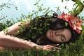 Картинка трава, девушка, цветы, волосы
