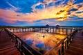 Картинка небо, облака, закат, мостик