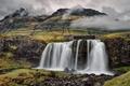 Картинка гора, Kirkjufell, камни, водопад, облака, небо, исландия
