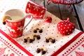 Картинка сердце, мяч, еда, Новый Год, молоко, печенье, Рождество, Christmas, орнамент, heart, food, выпечка, праздники, New ...