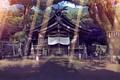 Картинка Дерево, Лучи Солнца, Храм, Японский Храм, Лес