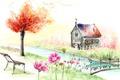Картинка цветы, мост, скамейка, дерево, рисунок, дом, река, пейзаж