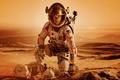 Картинка скафандр, сумка, Марс, шлем, пустыня, планета, песок, фантастика, Matt Damon, Марсианин, The Martian, Мэтт Дэймон