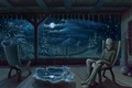 Картинка деревья, ночь, рисунок, инопланетянин, кресла