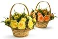 Картинка цветы, розы, желтые, белый фон, розовые, корзинки, корзины, букеты
