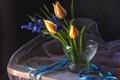 Картинка мускари, лента, тюльпаны