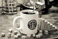 Картинка кофе, кружка, сахар, черно-белое, danbo