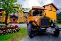 Картинка цветник, Dalen Hotel, Норвегия, автобус, деревья, отель долина