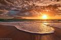 Картинка пляж, пена, вечер, океан, солнце, небо, облака, закат
