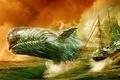 Картинка море, корабль, Моби Дик, Белый кит, Moby Dick, кит, art
