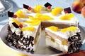 Картинка сладости, торт, десерт, дольки, персик, вкусно, фрукты, еда, пища, желтый