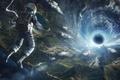 Картинка вселенная, земля, скафандр, полет, Космонавт, черная дыра