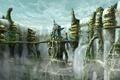 Картинка Фентези, водопад, город, мосты
