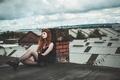 Картинка Laurie, крыша, девушка, поза