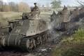 Картинка Nikita Bolyakov, арт, американские, дорога, World of Tanks, танки, рисунок, поле, танкисты, M3 Lee, колонна, ...