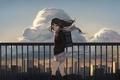 Картинка школьница, арт, levi9452, дома, аниме, shibuya rin, форма, город, idolmaster, девушка, небо, облака