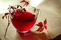 Картинка осень, листья, чай, чашка, красные, книга, бордовые