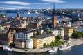 Картинка корабль, мост, шпиль, дома, лайнер, порт, море, башня, церковь Риддархольмена, стокгольм, скандинавия, небо, река, облака, ...