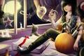 Картинка кошка, комната, луна, книги, дух, окно, арт, нож, призрак, лента, тыква, парень, записи, halloween, звездочки, ...