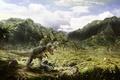 Картинка динозавр, деревья, пустош, Jurassic, арт