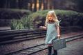 Картинка девочка, Young Travelers, часы, чемодан