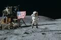 Картинка флаг, сша, обои, лунный модуль, прыжок, американец, луна, Луноход, америка, Космонавт, космос