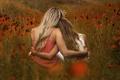 Картинка Portrait in Orange, цветы, девушки, поле