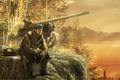 Картинка лес, рендеринг, собака, солдат, танк, спецназ, калашников, калаш