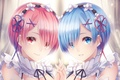 Картинка anime, Re: Zero kara Hajimeru Isekai Seikatsu, art, сёстры, лица, Ram, Rem