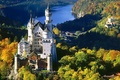 Картинка осень, лес, замок, Германия, Бавария, Нойшвайштайн