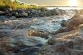 Картинка фото, деревья, речка, вода, поток, солнце, река, ручей, камни
