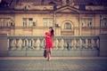 Картинка архитектура, девушка, в красном, Москва