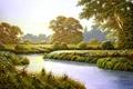Картинка цветы, деревья, живопись, Terry Grundy, Autumn Coming, поляна, приближение осени, река, пейзаж
