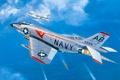 Картинка war, art, airplane, painting, aviation, jet, McDonnell F3H-2M Demon