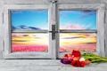 Картинка цветы, окно, тюльпаны, вид, поле, рассвет, небо, горизонт, подоконник