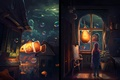 Картинка комната, девочка, вода, арт, живопись, рыбки, окна