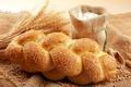Картинка зерно, мука, батон, кунжут, хлеб, пшеница, мешок, колосья