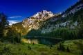 Картинка деревья, горы, озеро, Швейцария, Switzerland, Canton of Berne, Bernese Alps, Бернские Альпы, Oltschiburg Mountain, Hinterburgseeli ...