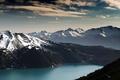 Картинка озеро, снег, лес, горы