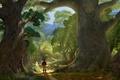 Картинка Флинн, арт, деревья, Tangled, тропинка, рисунок, Рапунцель: Запутанная история, Рапунцель, лес