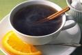 Картинка блюдце, чай, чашка, долька, апельсина, корицаа