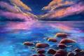 Картинка Gabrielle Ragusi, пейзаж, отражение, арт, живопись, море, облака, небо, звезды, камни