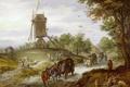Картинка люди, повозка, дорога, картина, Пейзаж с Мельницей, Ян Брейгель старший
