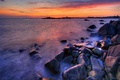 Картинка Море, камни, закат