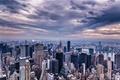 Картинка небо, тучи, город, здания, дома, Нью-Йорк, небоскребы, вечер, панорама, USA, США, Манхэттен, New York, Manhattan, ...
