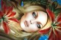Картинка цветы, лицо, девушка, лилии, волосы